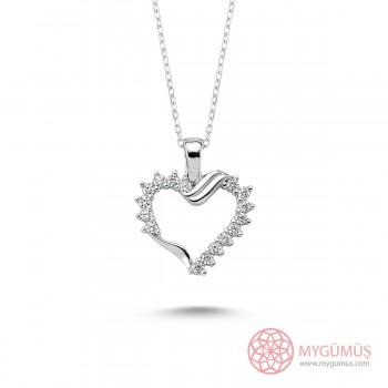 Zirkon Taşlı Kalp Gümüş Kolye MY101364
