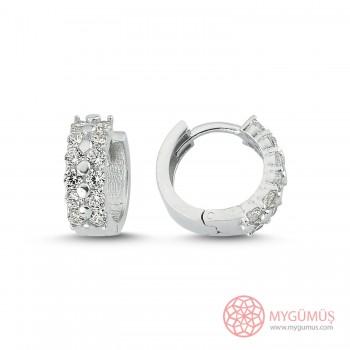 Zirkon Taş İşlemeli Halka Gümüş Küpe MYG051