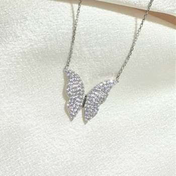 Zirkon Taşlı Gümüş Kelebek Kolye MY102393