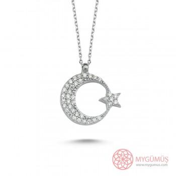 Zirkon Taşlı Ay Yıldız Gümüş Kolye MY1011034