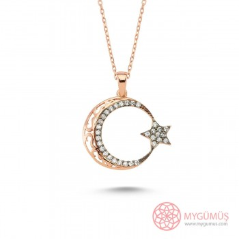 Zirkon Taşlı Ay Yıldız Gümüş Kolye MY101181