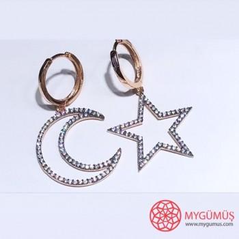 Zirkon Taşlı Büyük Ay Yıldız Gümüş Küpe MY102080