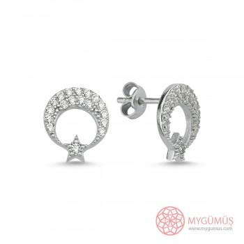 Zirkon Taşlı Ay Yıldız Vidalı Gümüş Küpe MY1011032