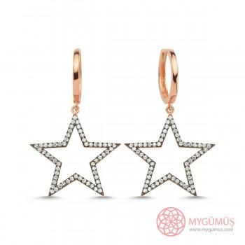 Zirkon Taşlı Büyük Yıldız Gümüş Küpe MY111088