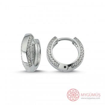 Zirkon Taşlı Halka Gümüş Küpe MYG046