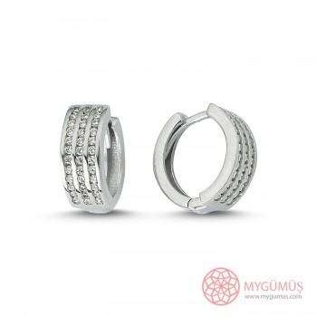 Zirkon Taşlı Halka Gümüş Küpe MYG047