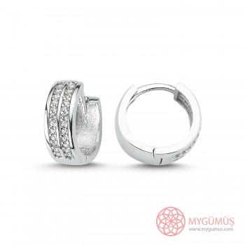 Zirkon Taşlı Halka Gümüş Küpe MYG049