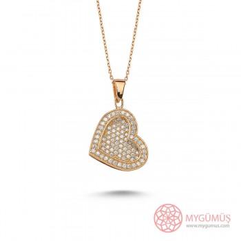 Taşlı Kalp Gümüş İsimli Kolye MY100082