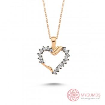 Zirkon Taşlı Kalp Gümüş Kolye MY101365