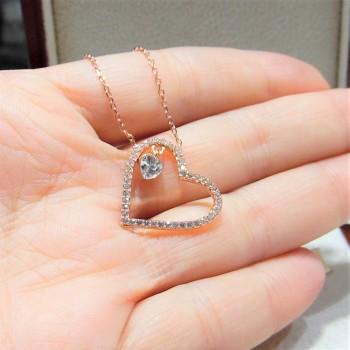Zirkon Taşlı Kalp İçinde Kalp Gümüş Kolye MY102293