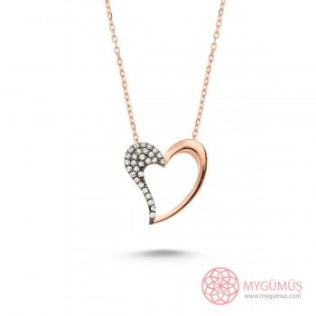 Zirkon Taşlı Kalp Gümüş Kolye MY101205