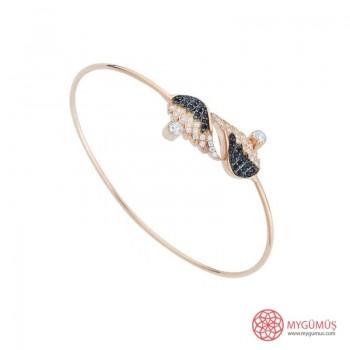 Carino Kanat Zirkon Taşlı Kelepçe Gümüş Bileklik MY111062