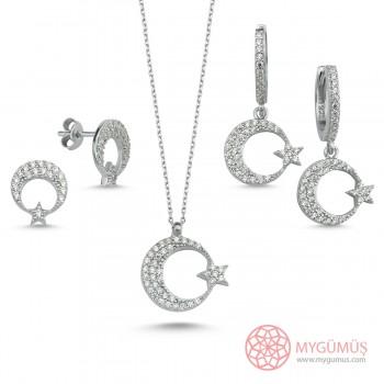 Zirkon Taşlı Ay Yıldız Gümüş Set MY101913