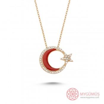 Zirkon Taşlı Mineli Ay Yıldız Gümüş Kolye MY0001004