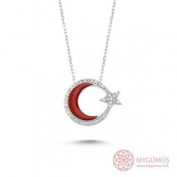 Zirkon Taşlı Mineli Ay Yıldız Gümüş Kolye MY0001001