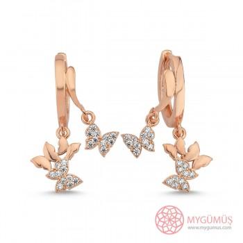 Zirkon Taşlı Minik Kelebekler Gümüş Küpe MYG102