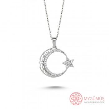 Zirkon Taşlı Ay Yıldız Gümüş Kolye MY100121
