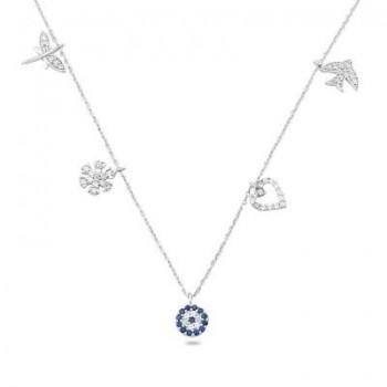Zirkon Taşlı Gümüş Şans Kolye MY0201020