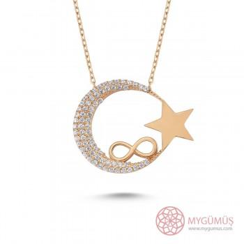 Sonsuzluk İşlemeli Ay Yıldız Gümüş Kolye MY0301010