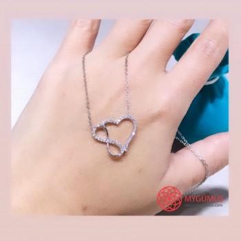 Zirkon Taşlı Sonsuzluk Kalp Gümüş Kolye MY102085