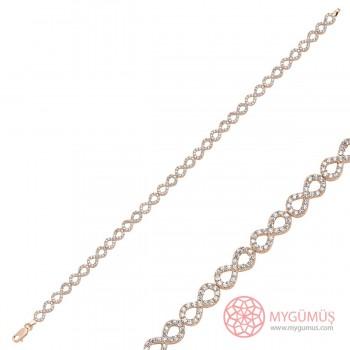 Zirkon Taşlı Sonsuzluk Su Yolu Gümüş Bileklik MY1010011