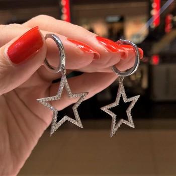 Zirkon Taşlı Büyük Yıldız Gümüş Küpe MY102130
