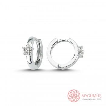 Zirkon Taşlı Yıldız Halka Gümüş Küpe MYG060