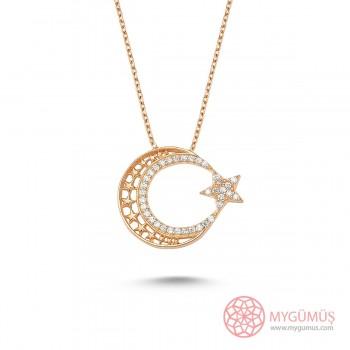 Yıldızlı Ay Yıldız Gümüş Kolye MY0001006