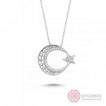 Yıldızlı Ay Yıldız Gümüş Kolye MY0001007