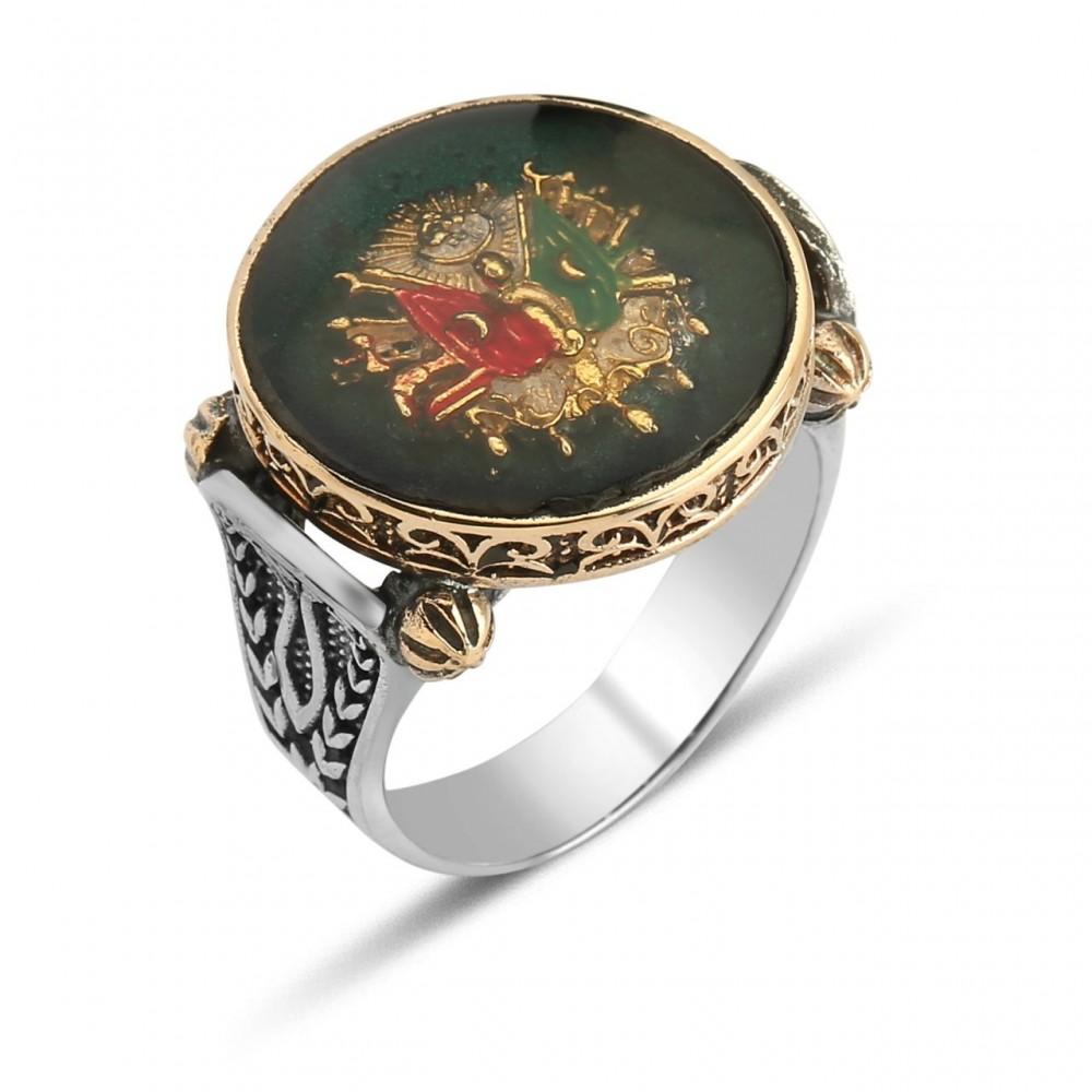 Osmanlı Tuğralı Erkek Gümüş Yüzük MY0604006 5537 Thumb