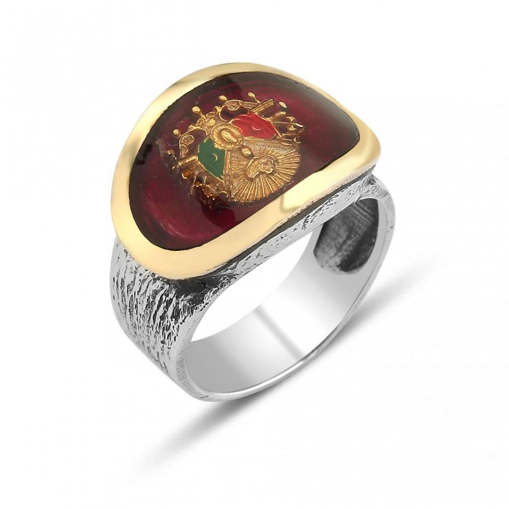 Osmanlı Tuğralı Erkek Gümüş Yüzük MY0604008 5543 Thumb