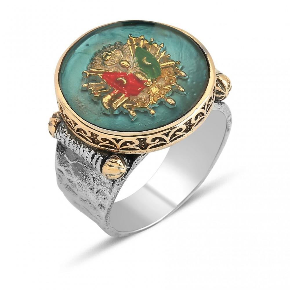 Osmanlı Tuğralı Erkek Gümüş Yüzük MY0604012 5555 Thumb