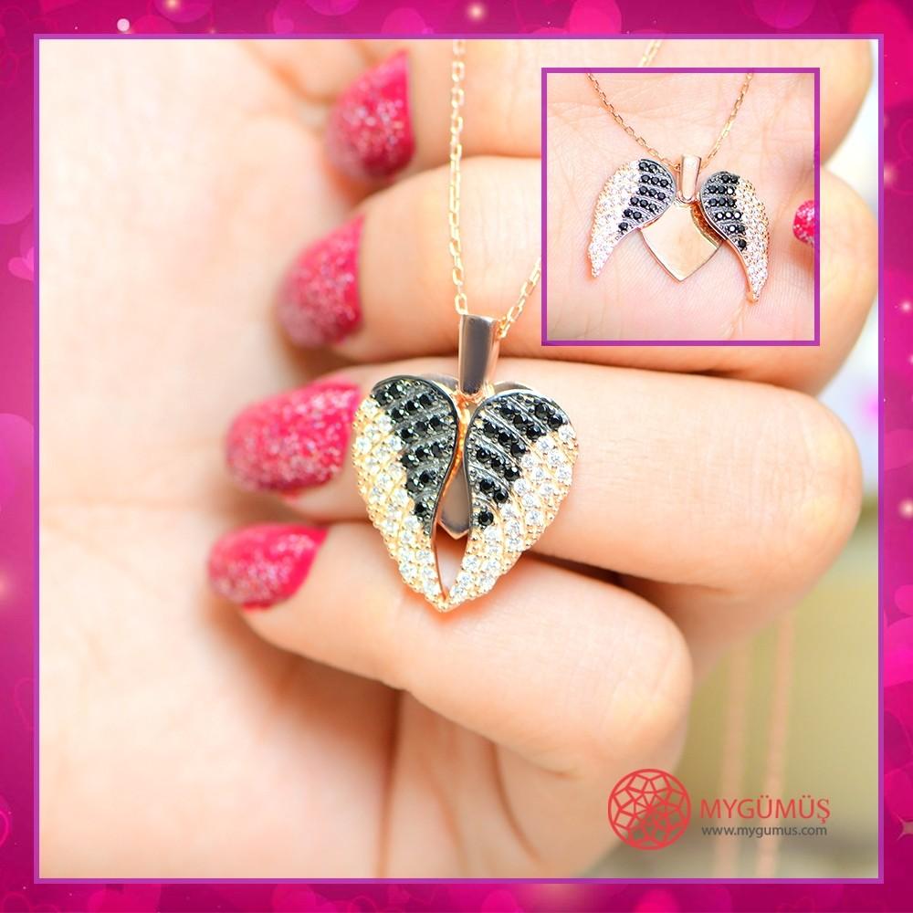 İsme Özel Kanatlı Kalp Gümüş Kolye MY03010144 10692 Thumb