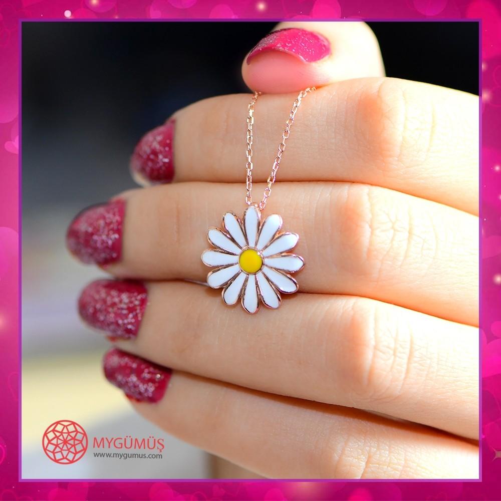 Beyaz Papatya Gümüş Kolye MY101451 10674 Thumb