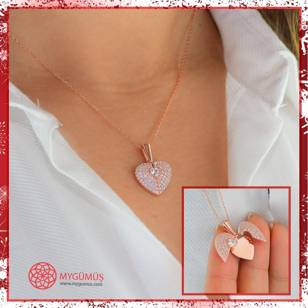 İsme Özel Sihirli Kalp Gümüş Kolye MY101442 10561 Thumb