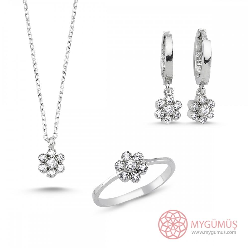 Elmas Montür Çiçek Gümüş Kolye Küpe Yüzük 3'lü Set MY101107 7571 Thumb
