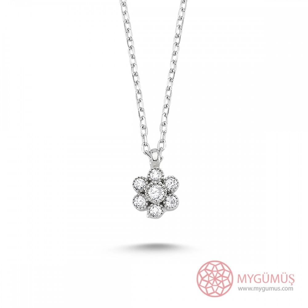Elmas Montür Çiçek Gümüş Kolye Küpe Yüzük 3'lü Set MY101107 7573 Thumb