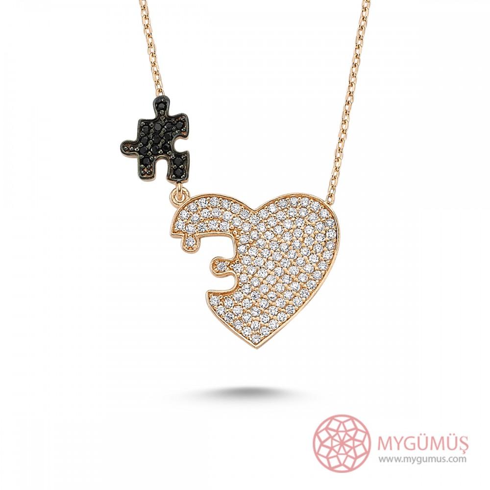 Zirkon Taşlı Kalbimin Parçası Puzzle Gümüş Kolye MY0301054 7621 Thumb