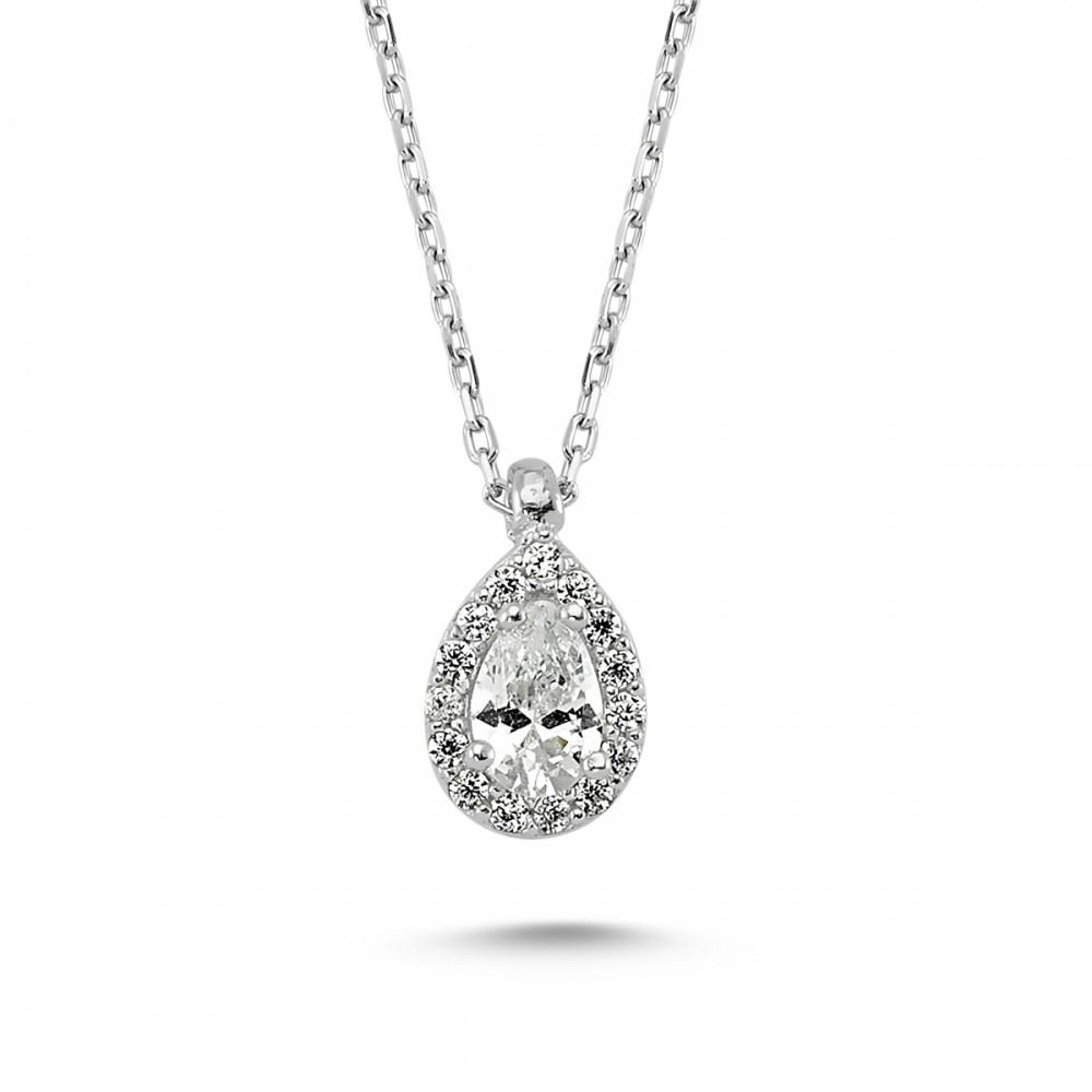 Elmas Montürlü Gümüş Kolye Küpe Miniset MYA001001 5657 Thumb