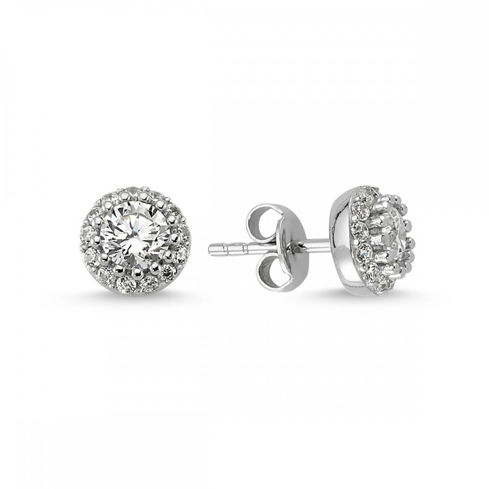 Elmas Montürlü Gümüş Kolye Küpe Miniset MYA001005 5670 Thumb