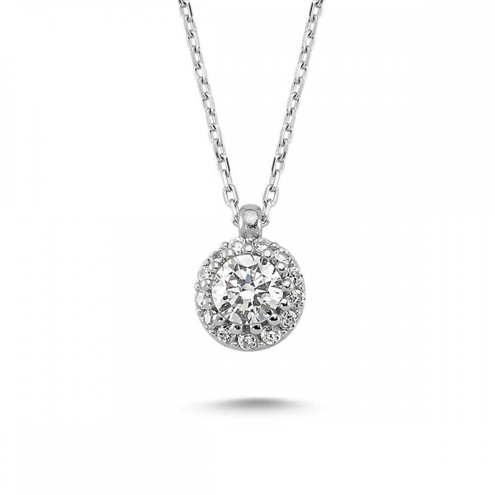 Elmas Montürlü Gümüş Kolye Küpe Miniset MYA001005 5671 Thumb