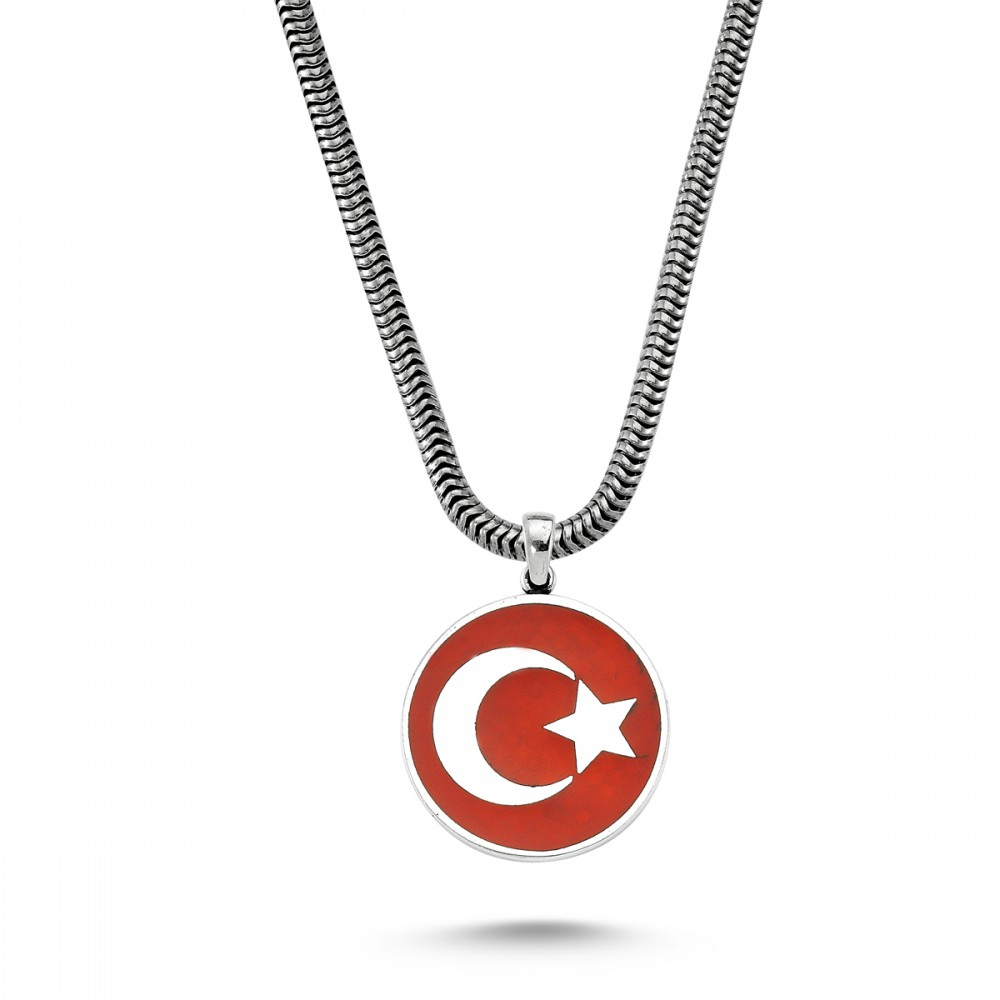 Türkiye Bayrağı Motifli Erkek Gümüş Kolye MY01006 5727 Thumb