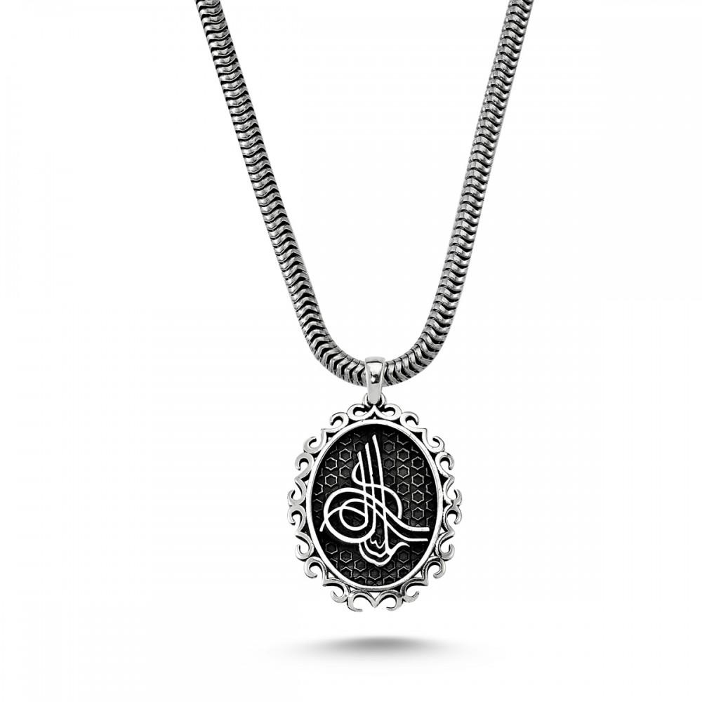 Osmanlı Tuğra Besmele Yazılı Erkek Gümüş Kolye MY01012 5733 Thumb