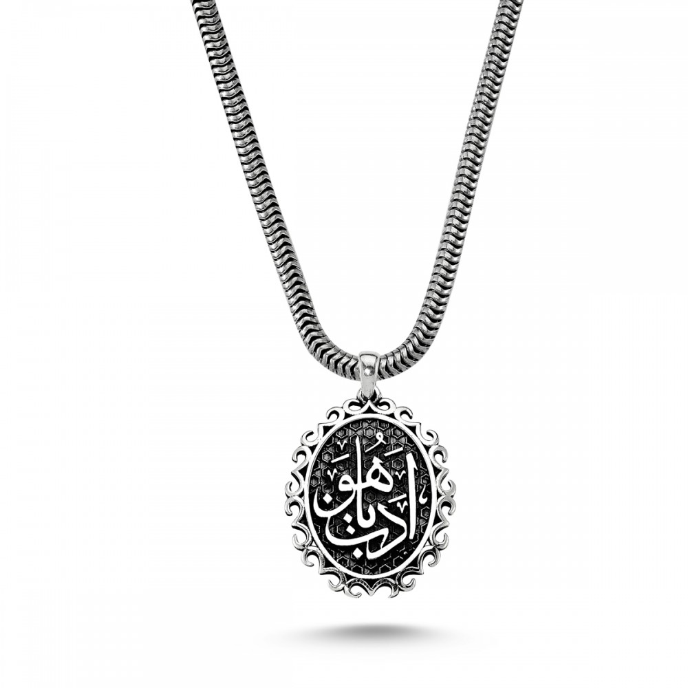Edep Yahu Yazılı Erkek Gümüş Kolye MY01013 5734 Thumb