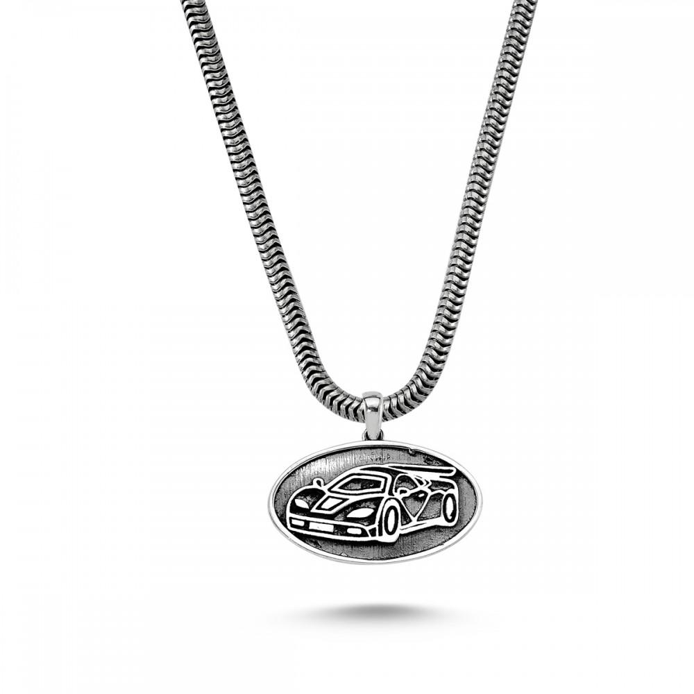 Yarış Arabası Erkek Gümüş Kolye MY01027 5748 Thumb