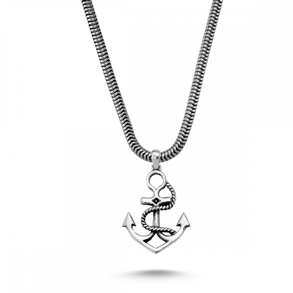 Gemi Çapası Erkek Gümüş Kolye MY01021 5742 Thumb