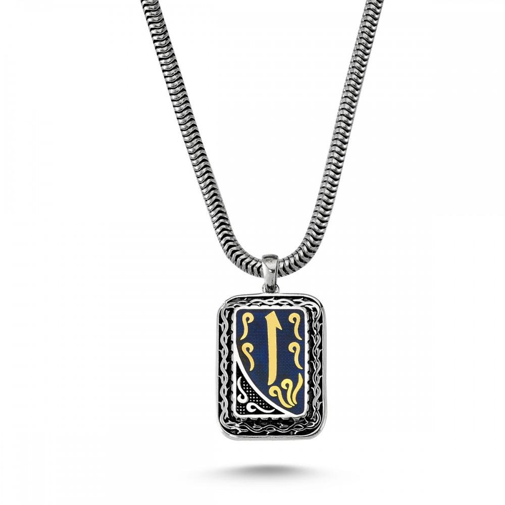 Elif İşlemeli Lale Motifli Erkek Gümüş Kolye MY01029 5750 Thumb