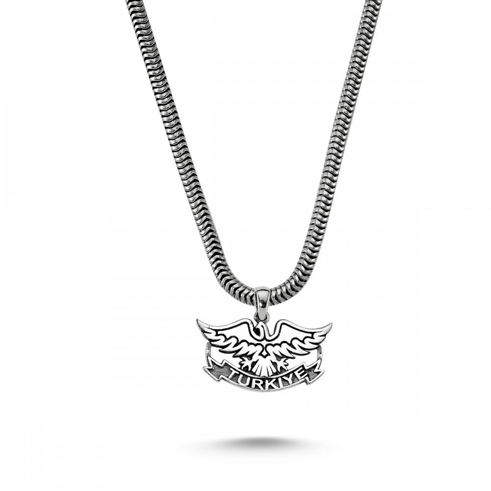Türkiye Yazılı Kartal Motifli Erkek Gümüş Kolye MY01037 5758 Thumb