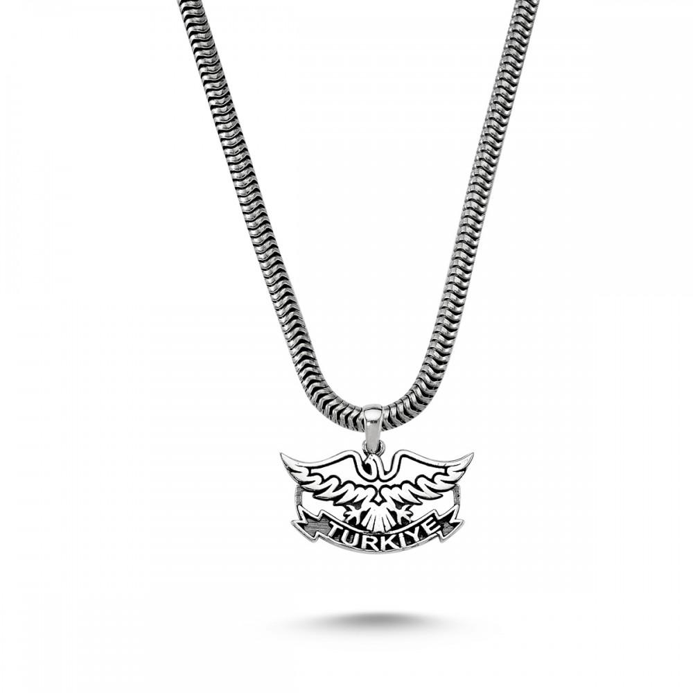 Türkiye Yazılı Kartal Motifli Erkek Gümüş Kolye MY01042 5763 Thumb