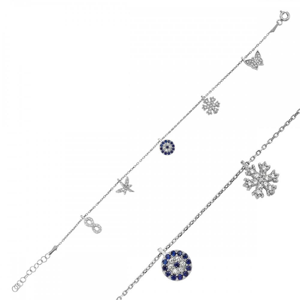 Beş Figürlü Şans Gümüş Bileklik Bayan MYB0108 5865 Thumb